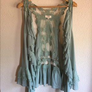 Umgee ruffles and lace Kimono